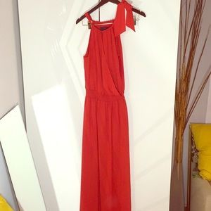 Gorgeous halter maxi red Gown dress